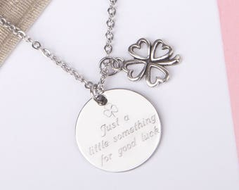 Clover necklace, good luck necklace,  good luck gift, lucky charm, good luck charm, good luck jewelry, engraved necklace, shamrock