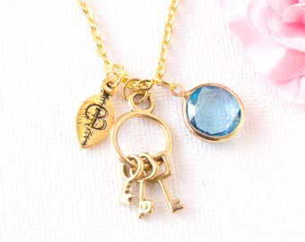 gold personalized keys necklace, keys jewellery, key jewelry, birthstone necklace, gift for mothers day, 21st birthday, bridesmaid gift