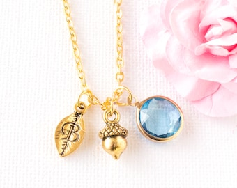 gold personalized acorn necklace, gold acorn jewellery, woodland necklace, layering necklace, fall jewellery, autumn necklace
