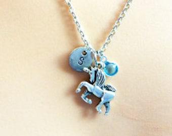 Unicorn Necklace, silver unicorn, Unicorn Jewellery, Unicorn Jewelry, birthstone Necklace, personalised necklace, unicorn gift.