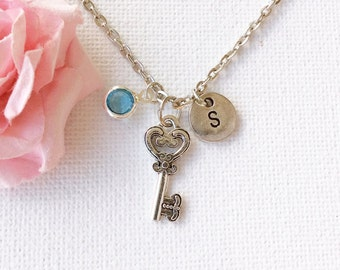 Key Necklace, Key Jewellery, Key jewelry, birthstone Necklace, personalised necklace, wish necklace, Keygift., , mothers day gift