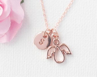 rose gold angel Necklace, rose gold angel, rose gold angel Pendant, Love Jewelry, Wedding Jewelry, Anniversary Gift,, mothers day gift