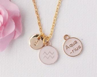 Aquarius Zodiac Sign Astrology Necklace, Aquarius necklace, star sign necklace,star sign necklace, January and February birthday /GFZSSNAQU1