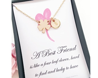 Friendship necklace, best friend gift, Four leaf clover necklace, Message card jewelry, gift for best friend , , christmas gift