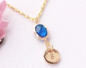 Birthstone necklace,September birthstone necklace,September birthday,Sapphire birthstone,Bridesmaids gift, birthstone,Customizable