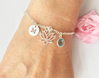 Lotus flower bracelet, silver Lotus flower bracelet, Lotus flower jewellery, lotus jewelry, silver Lotus flower, silver bracelet,