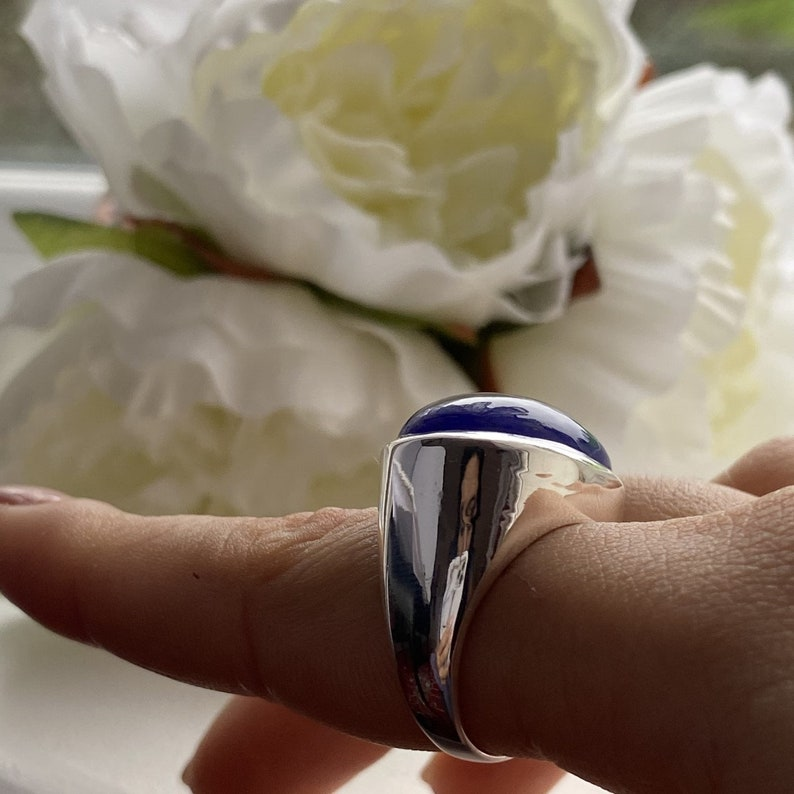 Silver Blue Chalcedony Ring with a Large Statement Oval Shaped Cabochon Cut Gemstone
