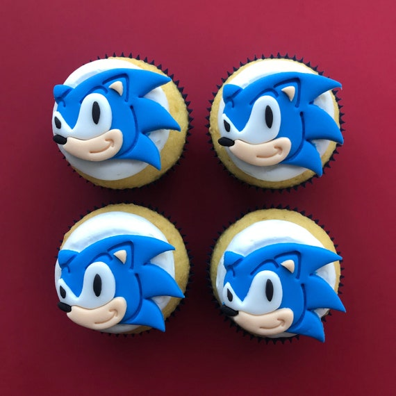 12 Sonic The Hedgehog Inspired Cupcake Toppers Fondant Etsy