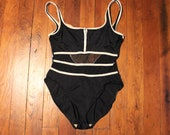 Vintage 80s 90s Black with White Piping and Mesh Midriff One Piece Bathing Suit size 12 by Concepts Sirena Both Stomach Bands are Mesh