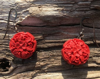 Red Coral Carved Pierced Earrings Bridesmaid Gift