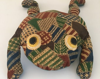 Vintage 70s Corduroy Patchwork Stuffed Frog Pillow Brown Green Blue Large Bull Frog Retro Decor