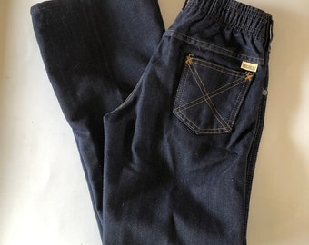 425c6e7f3bd Vintage 70s Kids Jeans Boys Dark Blue Flared Denim Jeans Sears Toughskins  Size 14 Slim Waist 25