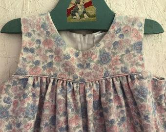 04d30cb13cc Baby Girls Floral Corduroy Overalls Vintage 80s Pastel Bubble Romper C.I.  Castro Size 9-12 Months