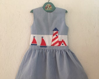 ae88656795c Vintage Girls Summer Dress Lighthouse Sail Boat Appliques Sylvia Whyte  Beach Dress Size 4