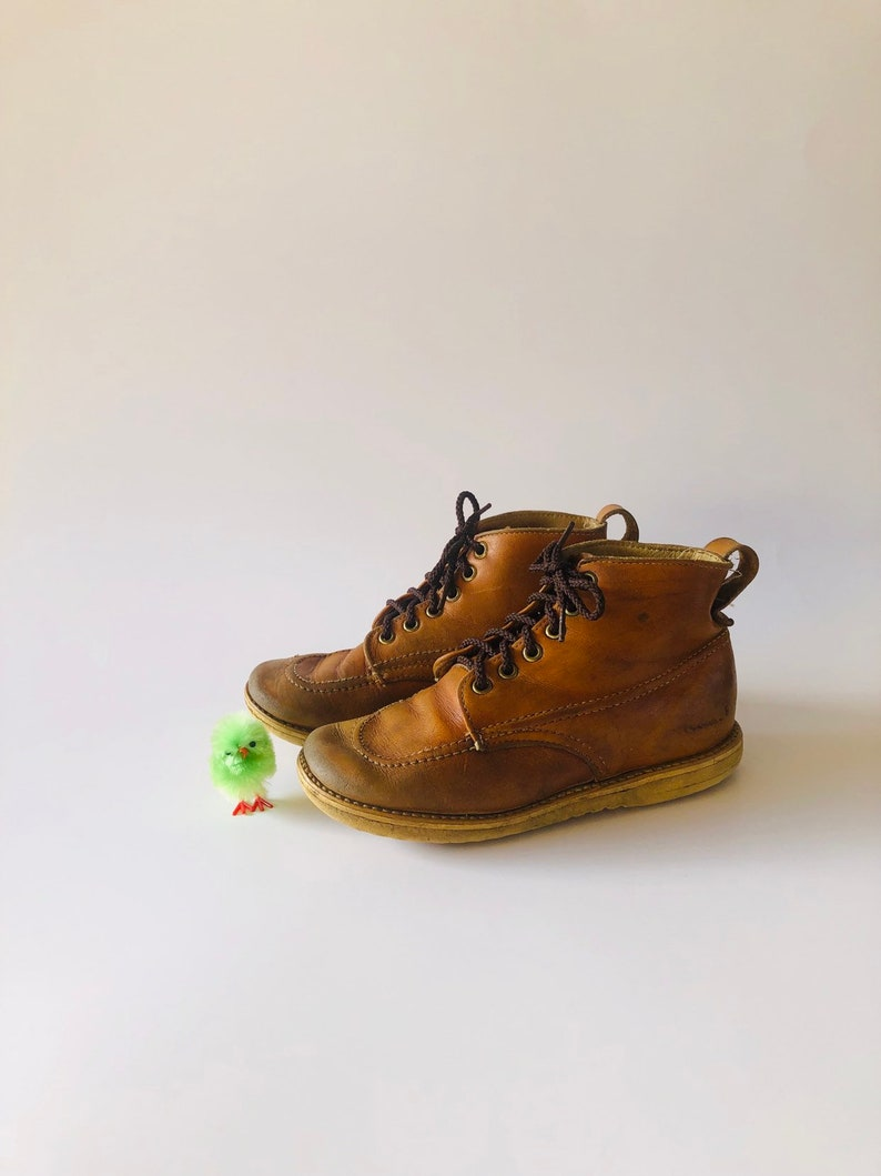 72cb882f7b814 Vintage 70s Little Boys' Brown Leather Work Boots Youth Size 10