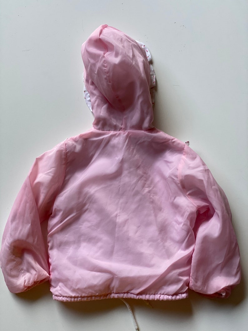 80s 90s Toddler Pink Butterfly Windbreaker Jacket Hooded Zip Up Calico Ruffled Jacket by Samara Size 3T-4T