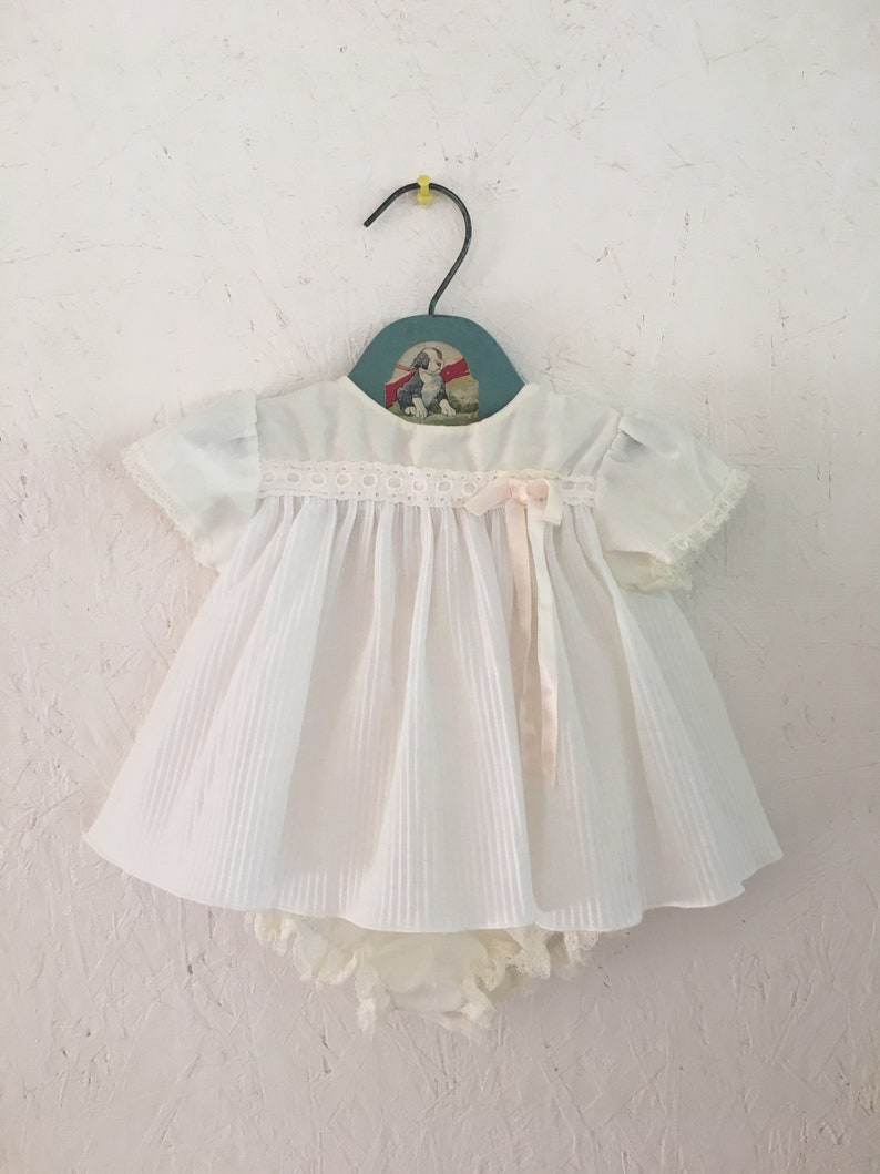 cc516a980e45 Vintage White Baby Dress with Attached Romper and Accordion