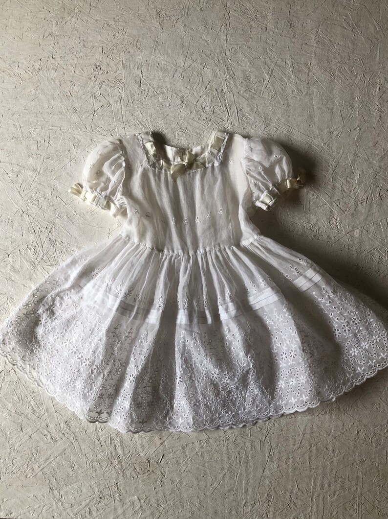 d9b7db43650 Vintage 40s Girls Sheer White Eyelet Dress High Waisted Fit