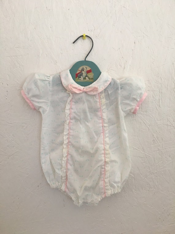 8e23fbd44aa1 Vintage Baby Bubble Romper 80s Pink Floral Lace Baby Girl