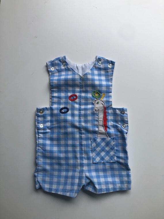 Vintage Red White Blue Romper 70/'s Gingham Romper 60/'s 70/'s Hooded Romper