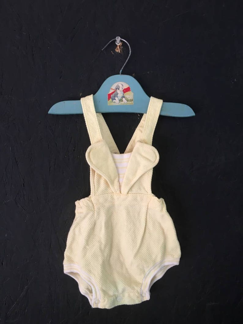 ca3072418 Vintage Baby Clothes 50s 60s Yellow Romper Sunsuit Size 6-9
