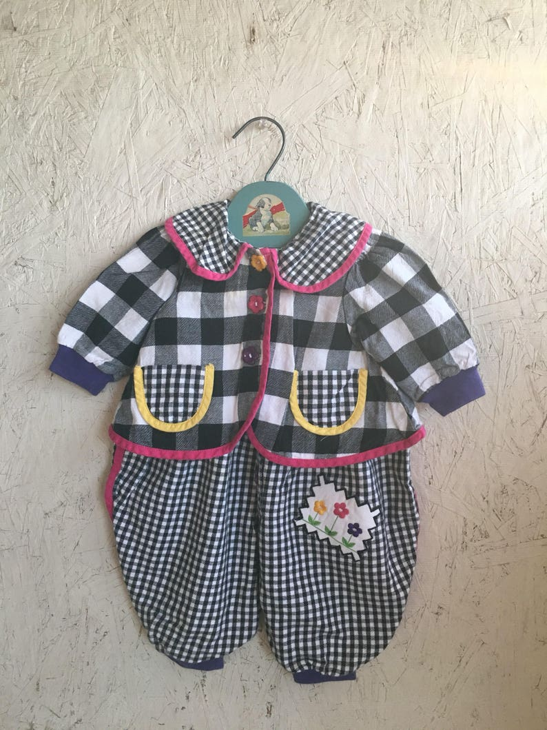 2825d0943e4 Vintage 80s Baby Clothes Bubble Romper Checked Overalls with