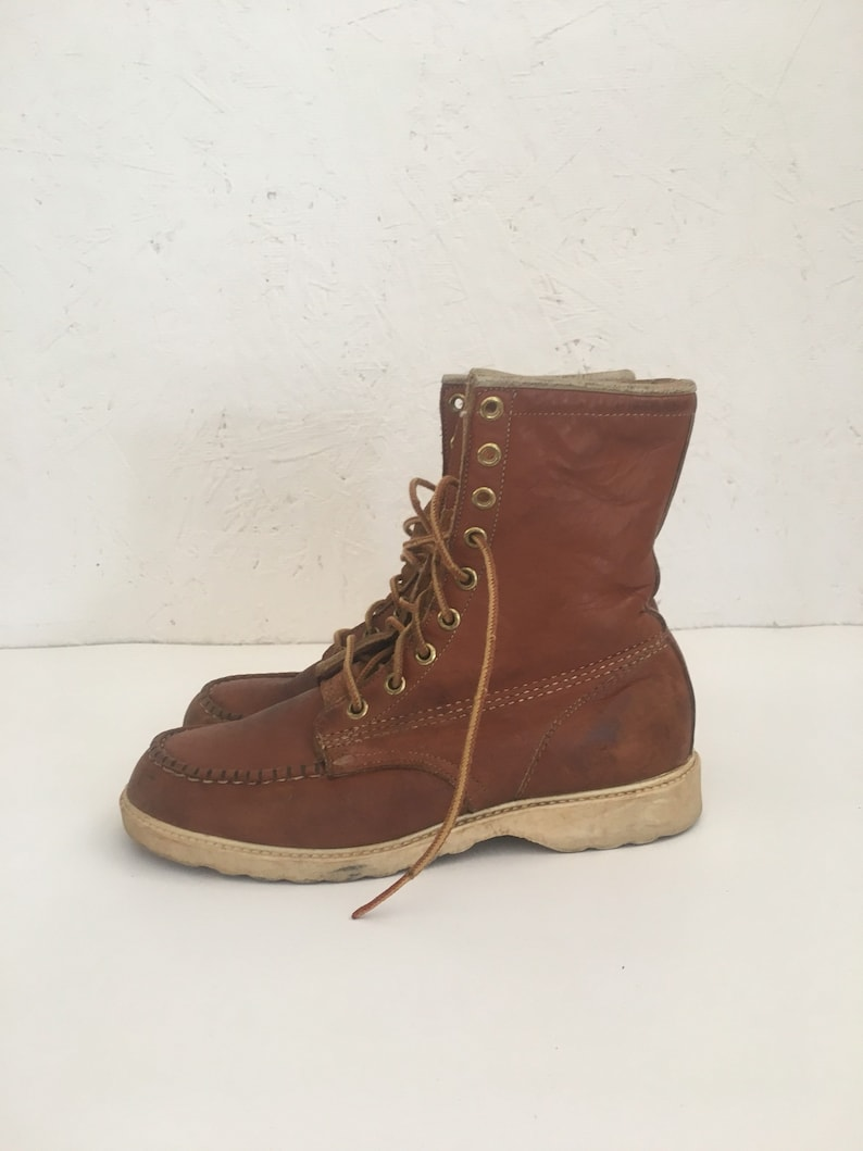 c7e496f9b1e81 Vintage 70s Kids Brown Leather Work Boots Rare Camp Lace Up Boots  Approximate Size Boys US 3