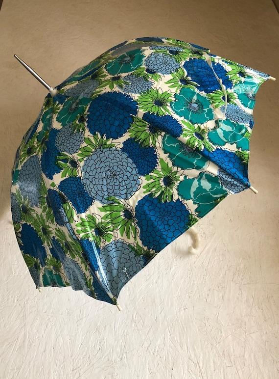 Vintage 60s 70s Little Girls Floral Umbrella Kids