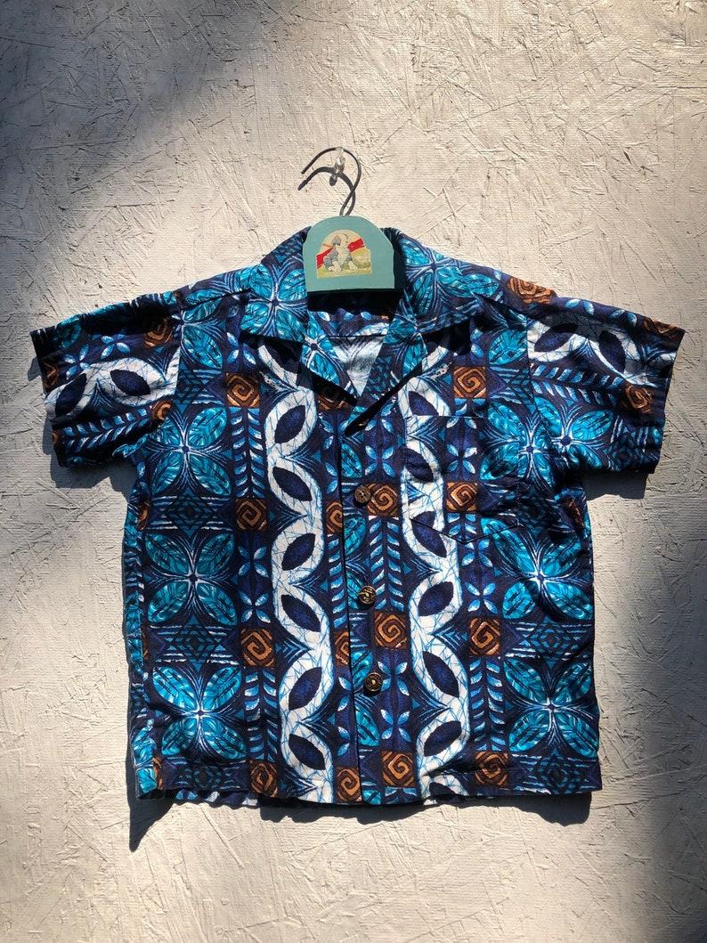 28bd0f2d0 Toddler Boys Hawaiian Shirt Vintage 70s Blue Cotton Hawaiian | Etsy