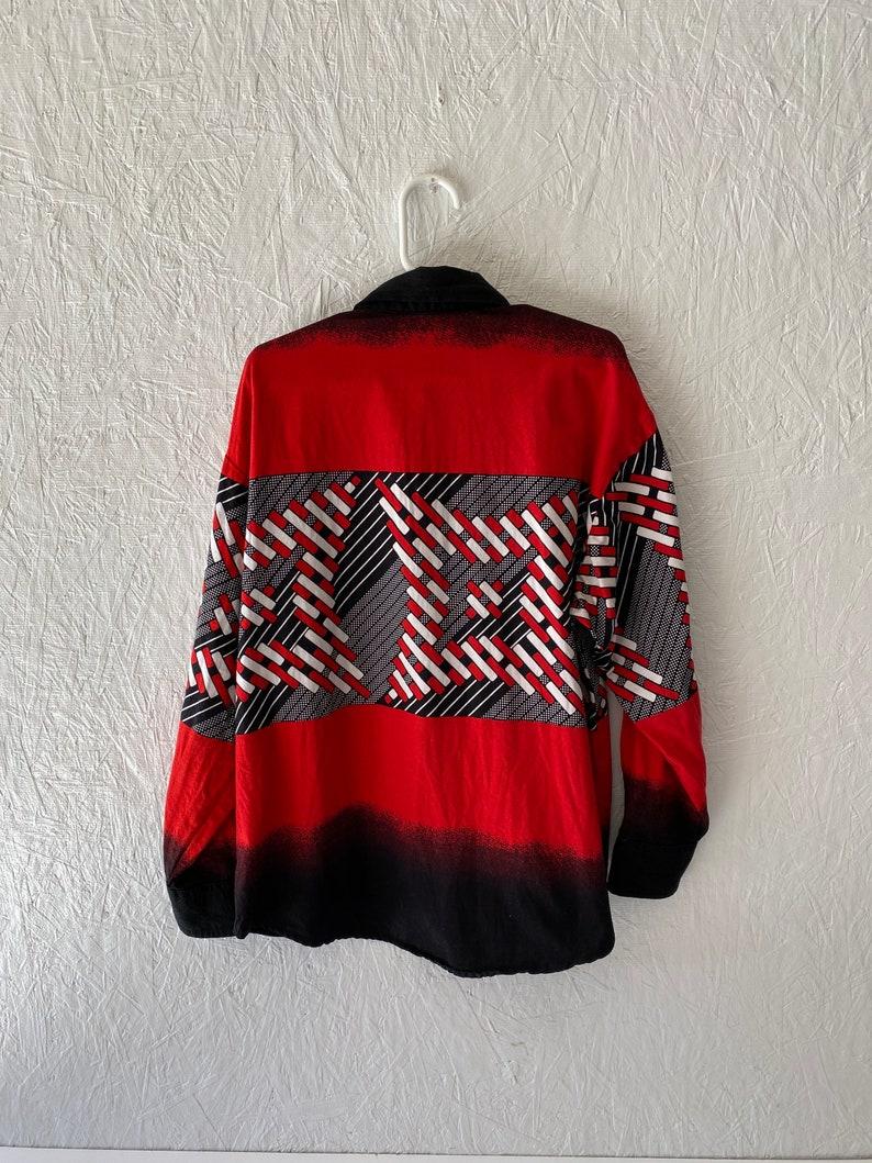Vintage Boys Western Shirt 80s 90s Kids Panhandle Slim Western Shirt Kids Red Black Ombre Geometric Print Cowboy Shirt Child Size 8-10