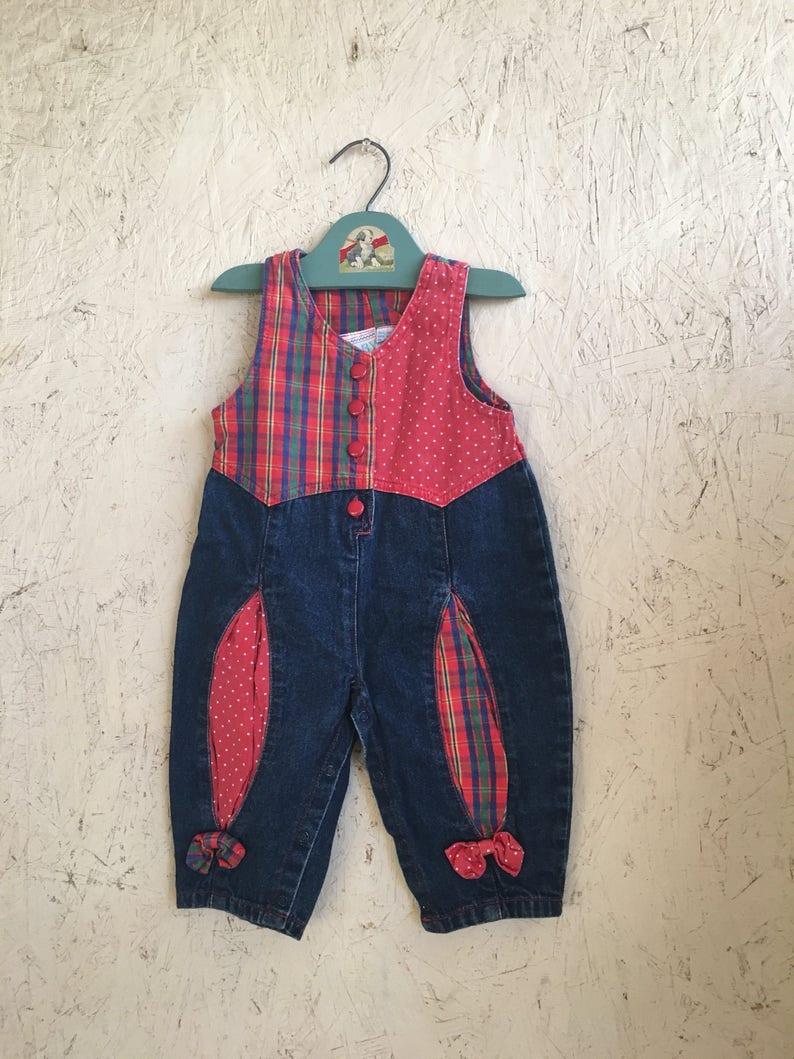 3930e86cde54 Vintage 80s Baby Denim Romper Red Plaid Polka Dot Size 12