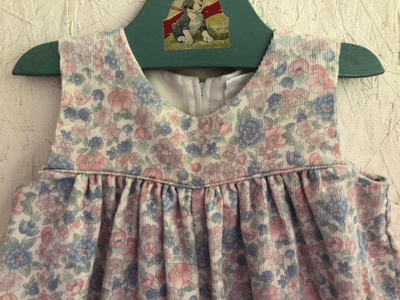 5a35eb6aa4c Baby Girls Floral Corduroy Overalls Vintage 80s Pastel Bubble
