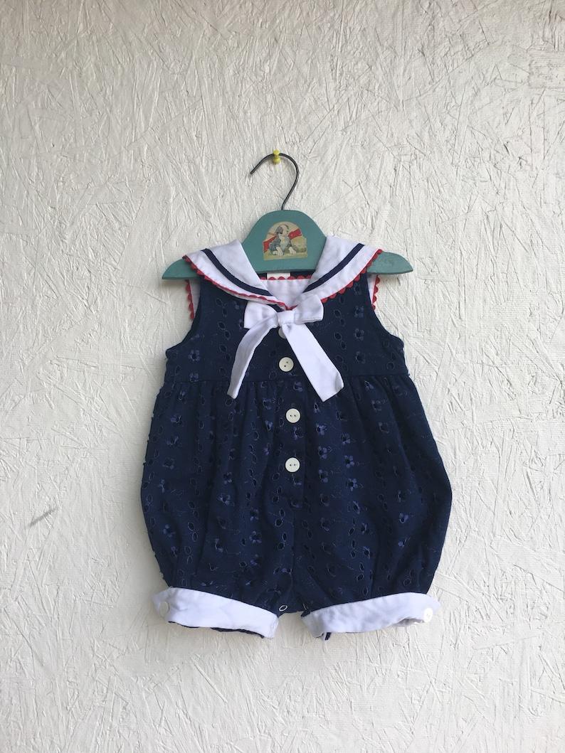 279635df816 Vintage Toddler Nautical Bubble Romper Sunsuit Navy Blue