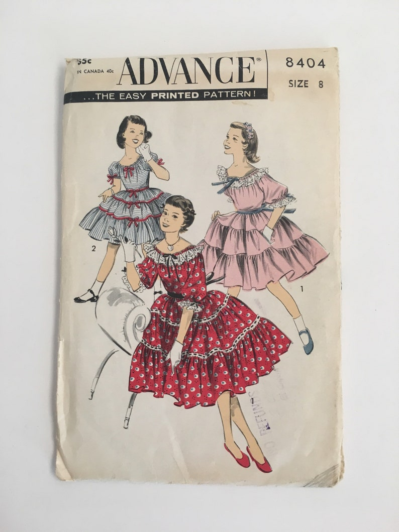 310c8132a046 Vintage 50s Girls Squaw Dress Pattern Patio Square Dance