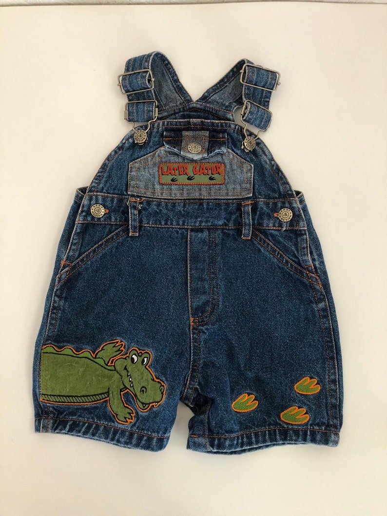 7b9a0e02f Later Gator Baby Overalls Vintage 80s 90s Blue Denim Shortalls