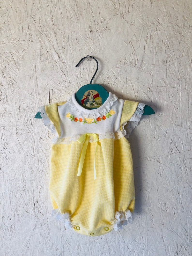 70ce21e04373 Vintage Yellow Embroidered Baby Girl Bubble Romper with Eyelet
