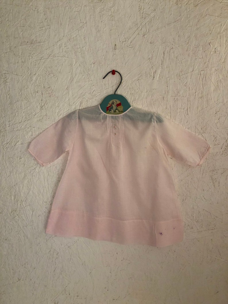 447d5c7680aa Vintage 50s Baby Girls Dress Pastel Pink Embroidered Pintuck
