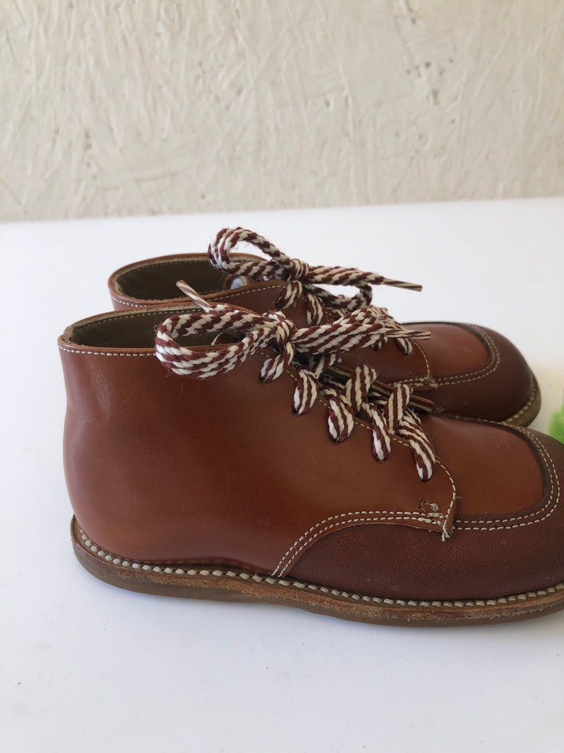 2759102801517 Vintage 60s Toddler Brown Leather Lace Up Shoes Buster Brown Boots Size 4-5