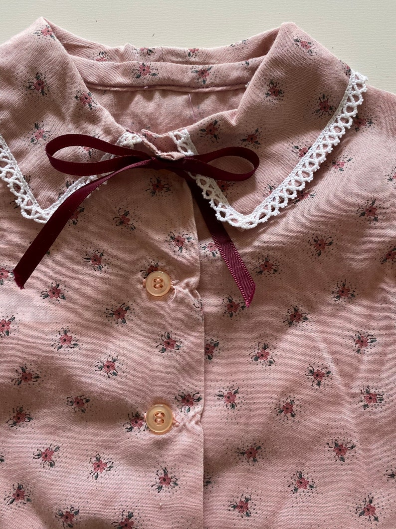 Vintage Toddler Mauve Floral Blouse Country Prairie Button Up Shirt Long Puff Sleeve Top with Lace Size 2T-3T