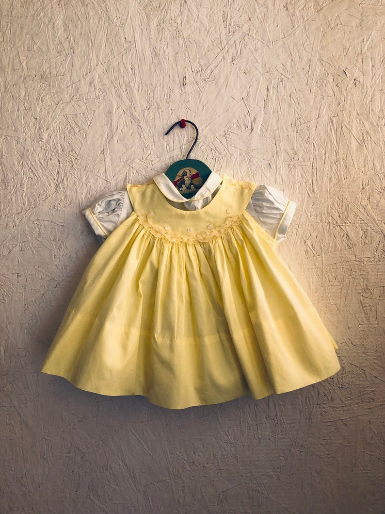 0091ce8625f Vintage 50s 60s Baby Dress Set 2 Piece Yellow Dress Set Tiny