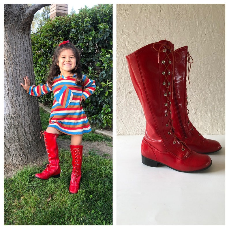 6435bf0d7 Vintage Rare 60s 70s Mod Kids Red Lace Up Go Go Boots Faux   Etsy