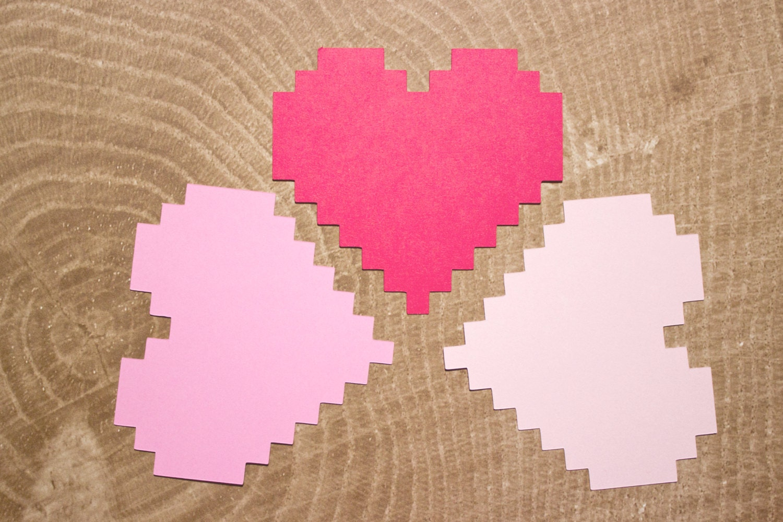 Pink Ombre 8 Bit Hearts Nerdy Wedding Date Night Idea