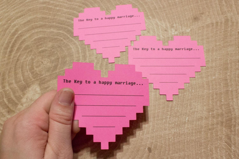 8 Bit Wedding Advice Cards Pink Nerdy Bridal Shower Game   Etsy