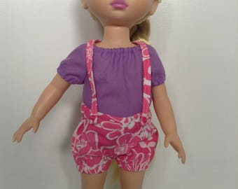 Purple peasant top and pink gathered suspender short set to suit Disney animator 16inch doll