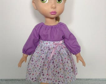 Purple peasant top and gathered skirt set to suit Disney animator 16inch doll