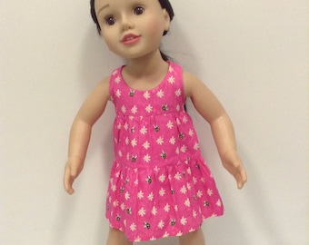 Pink tiered summer dress to suit 20 inch Australian girl doll or 18 inch American girl doll