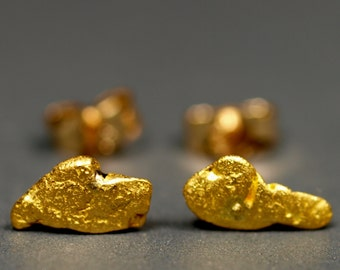 Real Gold Nugget Stud Earrings - California Placer Gold - Natural Gold Nuggets with 14k Posts