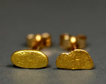 Raw Gold Nugget Stud Earrings - California Placer Gold - Natural Gold Nuggets with 14k Posts