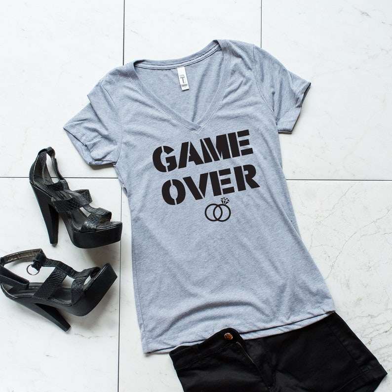 engagement gift bride gift girlfriend gift Game Over-Bride shirt future mrs wedding gift gift for wife gift for her
