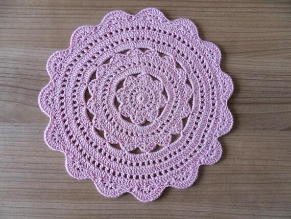 Häkeln Sie Deckchen Rosa Deckchen Runden Häkeldeckchen Etsy